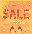 flat autumn sale banner poster flyer vector image