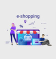 flat design banner of e-shopping for website and vector image vector image
