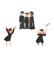 flat graduate people celebrating vector image vector image