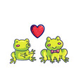 Frogs in love color cartoon characters