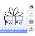 gift simple black line icon vector image vector image