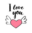 hand written lettering i love you and heart shape vector image