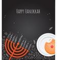 Hanukkah menorah and doughnut over chalkboard vector image vector image