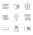 heating con icon set outline style vector image vector image