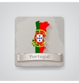icon portugal map with flag vector image