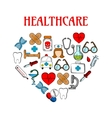 Medical equipment icons in form of heart vector image vector image