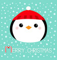 merry christmas penguin round head face icon red vector image vector image
