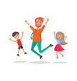 merry father and kids jumping fun isolated vector image