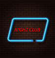 neon signboard nightclub on a brick background vector image vector image