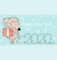 new year 2020 rat with gift and christmas lights vector image