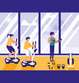 people doing spinning in gym vector image