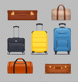 plastic luggages and vintage suitcases vector image