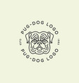 pug dog logo vector image vector image