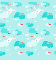 seamless pattern with cute flying rabbits vector image vector image