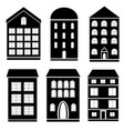 set of black and white building vector image vector image