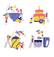 set small children cooking giant cake and in vector image vector image