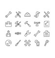 simple set repair related line icons vector image vector image