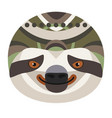 sloth head logo decorative emblem vector image vector image