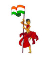 swarthy girl in sari with the flag of india vector image