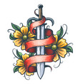 sword with ribbon and flowers tattoo vector image vector image