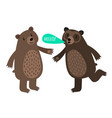 two cartoon bears with speech bubble vector image vector image