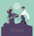 typical spanish dance handsome man and beautiful vector image vector image