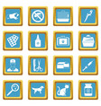 veterinary icons azure vector image vector image