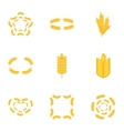 Wheat pattern icons set cartoon style vector image vector image