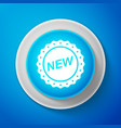 white label new sign isolated on blue background vector image vector image