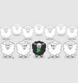 white sheep surround black sheep vector image