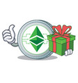 with gift ethereum classic character cartoon vector image vector image