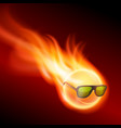 yellow burning ball wearing sunglasses vector image vector image