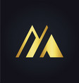 letter m colored gold logo vector image
