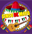 poster design for cinco de mayo with hat and vector image