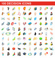100 decision icons set isometric 3d style vector image vector image