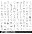 100 hygiene icons set outline style vector image vector image