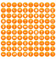 100 sneakers icons set orange vector image