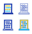 abacus icon set in flat and line style vector image