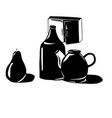 abstract still life bottles a kettle and a pear vector image