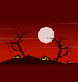 at night landscape halloween with pumpkin vector image vector image
