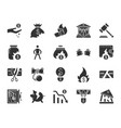 bankruptcy black silhouette icons set vector image vector image