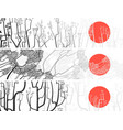 black and white banners of abstract drawing tree vector image vector image