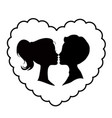 black silhouette of loving couple inside of wavy vector image vector image