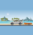 boat towing car on road running along the sea vector image