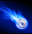burning football on blue fire vector image