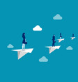 business team flying with paper plane concept vector image vector image
