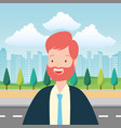 businessman city street vector image