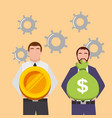 businessmen holding bag money and gold coin in vector image