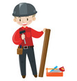 Carpenter with wood and tools
