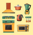 cartoon set of household kitchen appliances vector image vector image